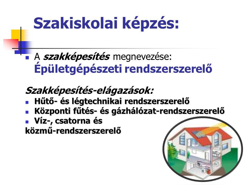 Szakiskolai képzés: A szakképesítés megnevezése: Épületgépészeti rendszerszerelő Szakképesítés-elágazások: Hűtő- és légtechnikai rendszerszerelő Hűtő-