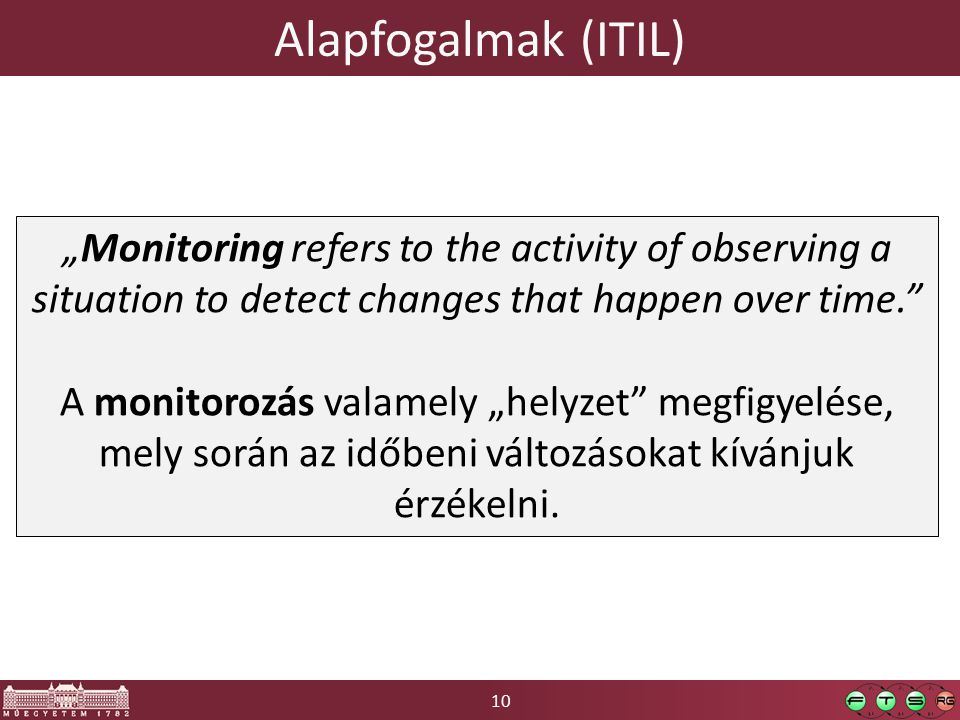 "10 Alapfogalmak (ITIL) ""Monitoring refers to the activity of observing a situation to detect changes that happen over time."" A monitorozás valamely ""h"