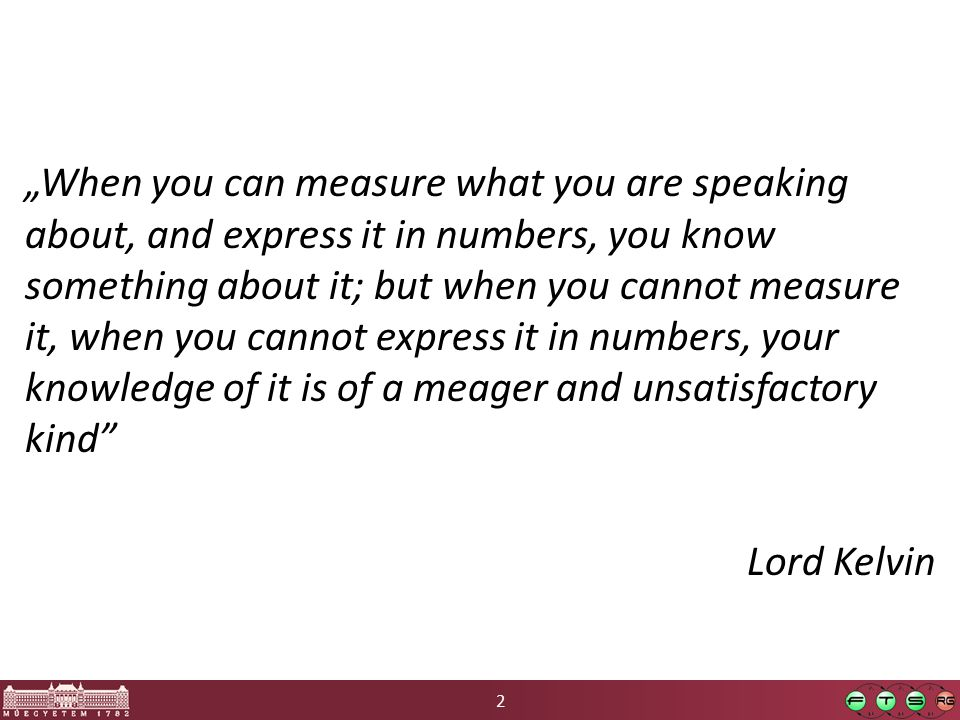 "2 ""When you can measure what you are speaking about, and express it in numbers, you know something about it; but when you cannot measure it, when you cannot express it in numbers, your knowledge of it is of a meager and unsatisfactory kind Lord Kelvin"