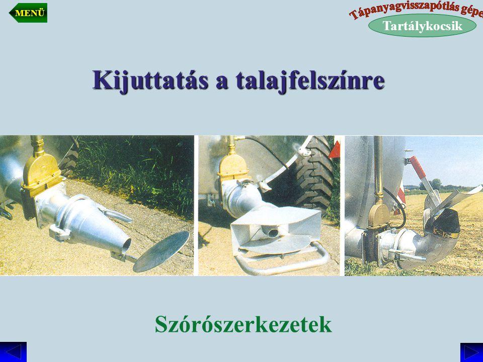 Kijuttatás a talajfelszínre Szórószerkezetek Tartálykocsik MENÜ