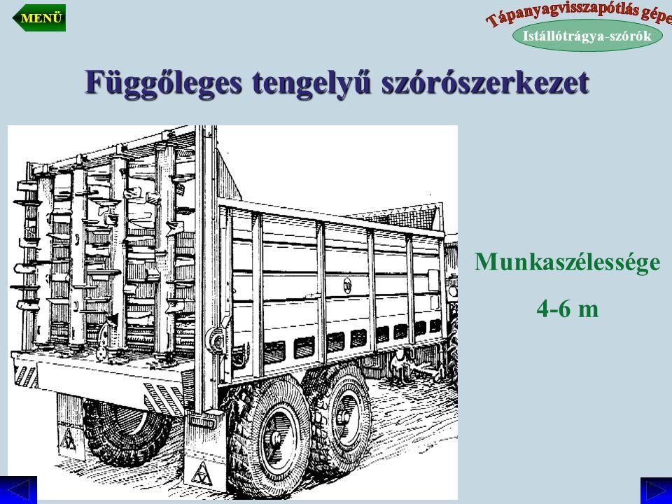 Függőleges tengelyű szórószerkezet Munkaszélessége 4-6 m Istállótrágya-szórók MENÜ