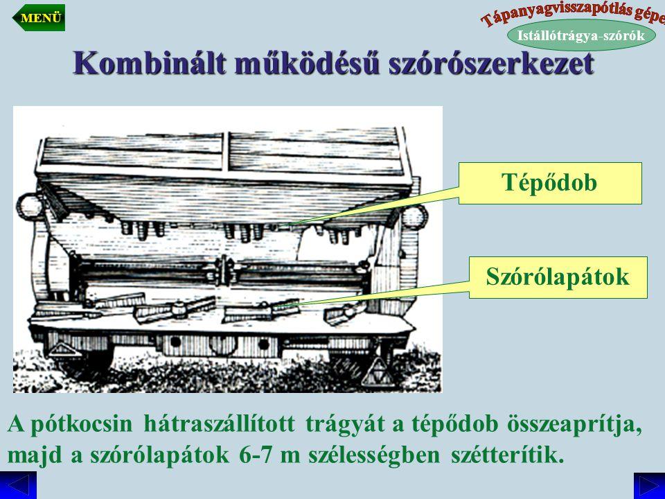 Kombinált működésű szórószerkezet Tépődob Szórólapátok A pótkocsin hátraszállított trágyát a tépődob összeaprítja, majd a szórólapátok 6-7 m szélesség