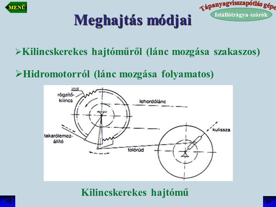 Meghajtás módjai  Kilincskerekes hajtóműről (lánc mozgása szakaszos)  Hidromotorról (lánc mozgása folyamatos) Kilincskerekes hajtómű Istállótrágya-s