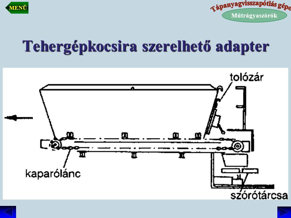 Tehergépkocsira szerelt adapter Műtrágyaszórók MENÜ