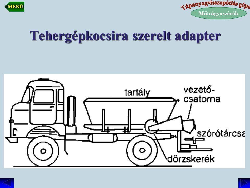 Tehergépkocsira szerelt műtrágyaszóró Kiszórt mennyiséget a kiömlőrés nagyságával szabályozható.