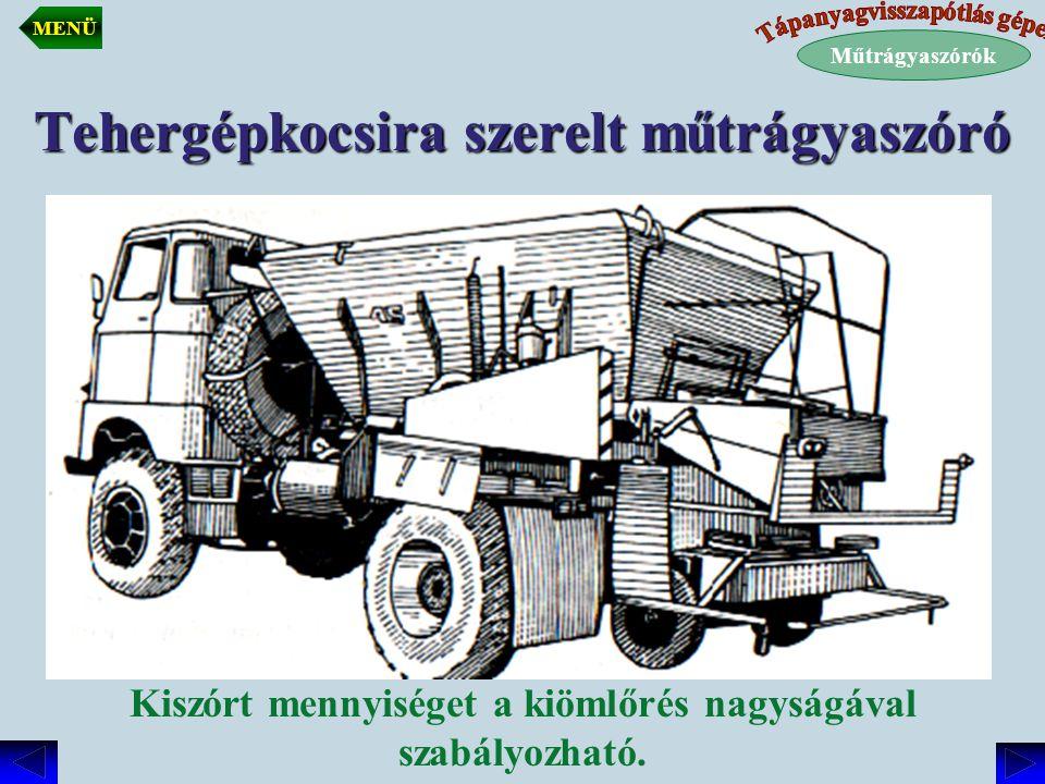 Tehergépkocsira szerelt műtrágyaszóró Kiszórt mennyiséget a kiömlőrés nagyságával szabályozható. Műtrágyaszórók MENÜ