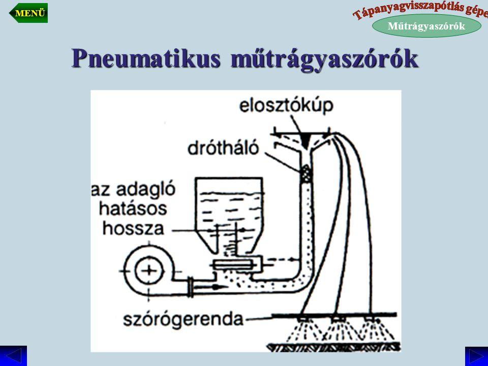Pneumatikus műtrágyaszórók 1 Központi elosztó 2 Műtrágyatartály 3 Szabályozható nyílások 4 Ventilátor 5 Szórócső 6 Ütközőlap 5 6 3 2 4 1 Műtrágyaszórók MENÜ