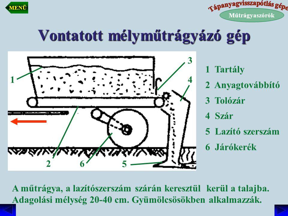 Vontatott mélyműtrágyázó gép A műtrágya, a lazítószerszám szárán keresztül kerül a talajba. Adagolási mélység 20-40 cm. Gyümölcsösökben alkalmazzák. 1