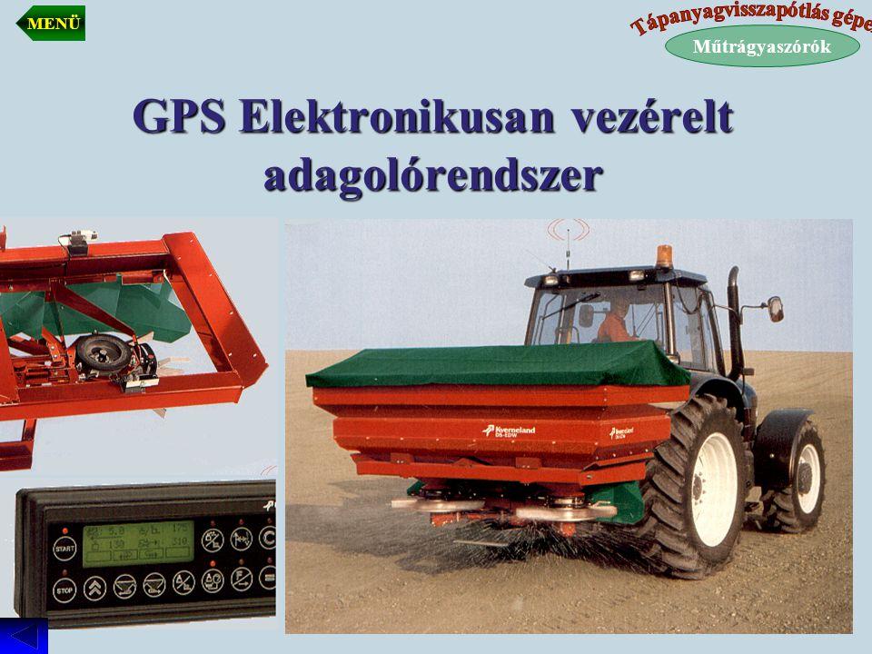 GPS Elektronikusan vezérelt adagolórendszer Műtrágyaszórók MENÜ