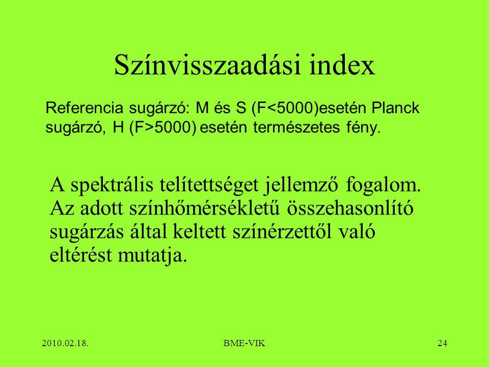 2010.02.18.BME-VIK24 Színvisszaadási index A spektrális telítettséget jellemző fogalom. Az adott színhőmérsékletű összehasonlító sugárzás által keltet