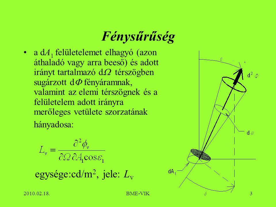 2010.02.18.BME-VIK4 Összefüggések az alapmennyiségek között Fényáram Megvilágítás környezetre dA dd Fénysűrűség: Fényerősség térbeli eloszlásra dd dA