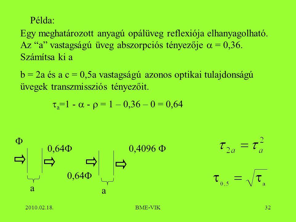 """2010.02.18.BME-VIK32 Példa: Egy meghatározott anyagú opálüveg reflexiója elhanyagolható. Az """"a"""" vastagságú üveg abszorpciós tényezője  = 0,36. Számít"""