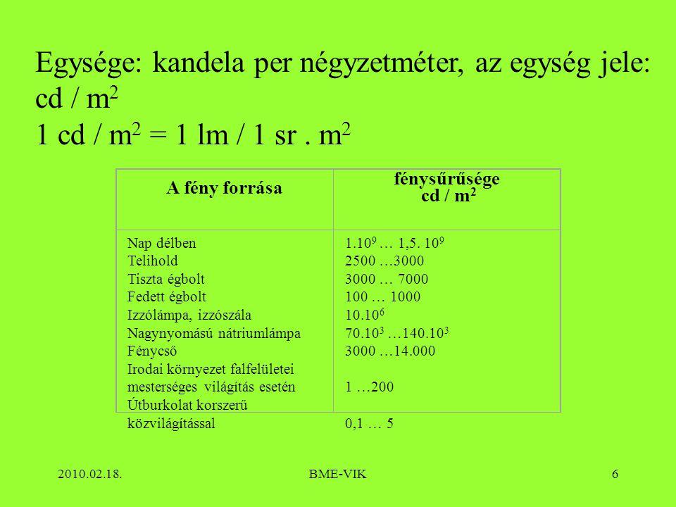 2010.02.18.BME-VIK6 Egysége: kandela per négyzetméter, az egység jele: cd / m 2 1 cd / m 2 = 1 lm / 1 sr. m 2 A fény forrása fénysűrűsége cd / m 2 Nap