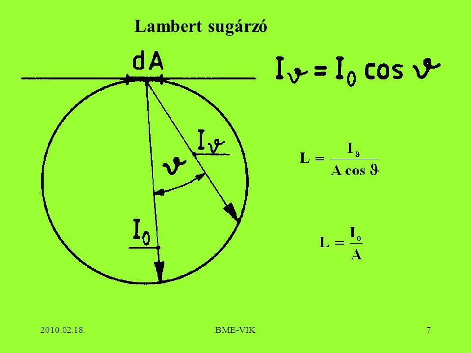 2010.02.18.BME-VIK8 Lambert sugárzó esetén: Közvilágításban:
