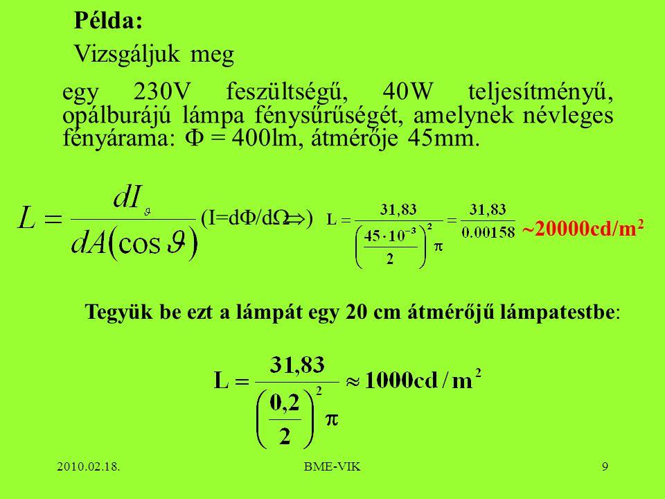 2010.02.18.BME-VIK9 Példa: Vizsgáljuk meg ))  20000cd/m 2 Tegyük be ezt a lámpát egy 20 cm átmérőjű lámpatestbe: egy 230V feszültségű, 40W teljesít