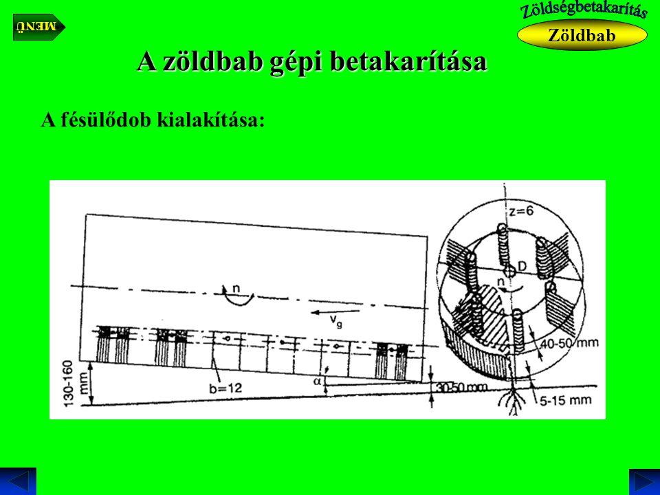 A zöldbab gépi betakarítása A fésülődob kialakítása: Zöldbab MENÜ