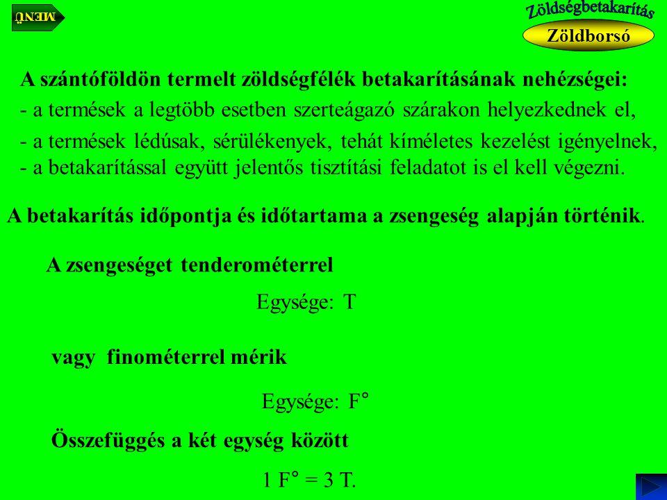 Az uborka-betakarításának műveletei: - betakarítás (előtisztítással), - szállítás, - előkészítés (manipulálás).
