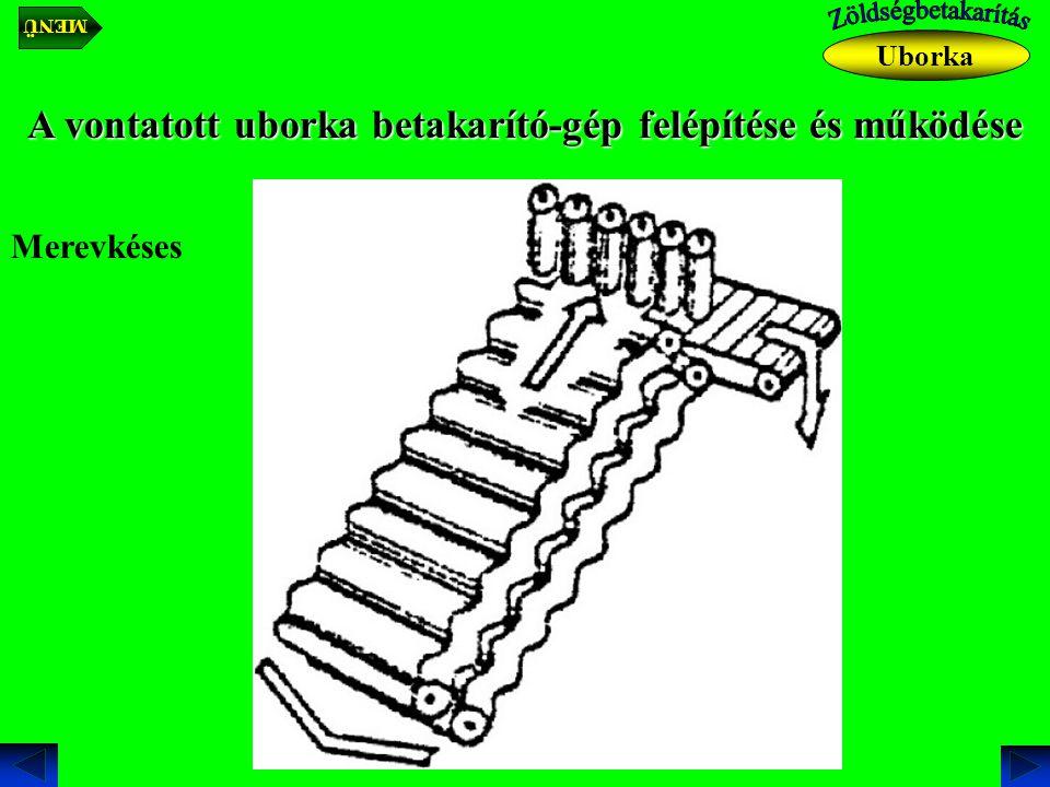 A vontatott uborka betakarító-gép felépítése és működése Merevkéses Uborka MENÜ