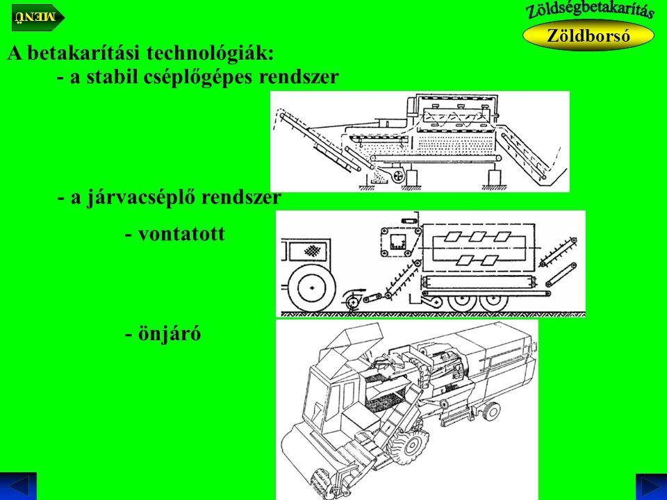 A betakarítási technológiák: - a stabil cséplőgépes rendszer - a járvacséplő rendszer - vontatott - önjáró Zöldborsó MENÜ