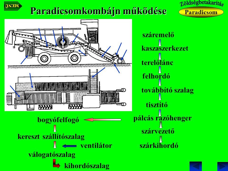 Paradicsomkombájn működése kaszaszerkezet Paradicsom száremelő felhordó terelőlánc továbbító szalag tisztító bogyófelfogó pálcás rázóhenger szárvezető szárkihordó kereszt szállítószalag ventilátor válogatószalag kihordószalag MENÜ