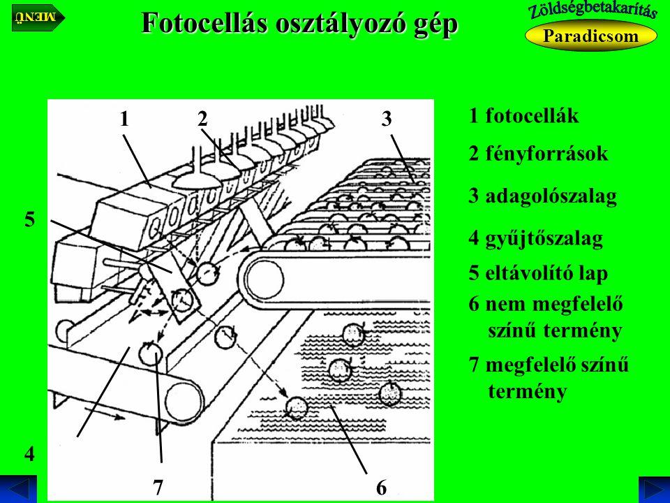 Fotocellás osztályozó gép 1 fotocellák 1 2 fényforrások 2 3 adagolószalag 3 4 gyűjtőszalag 4 5 eltávolító lap 5 6 nem megfelelő színű termény 6 7 megfelelő színű termény 7 Paradicsom MENÜ