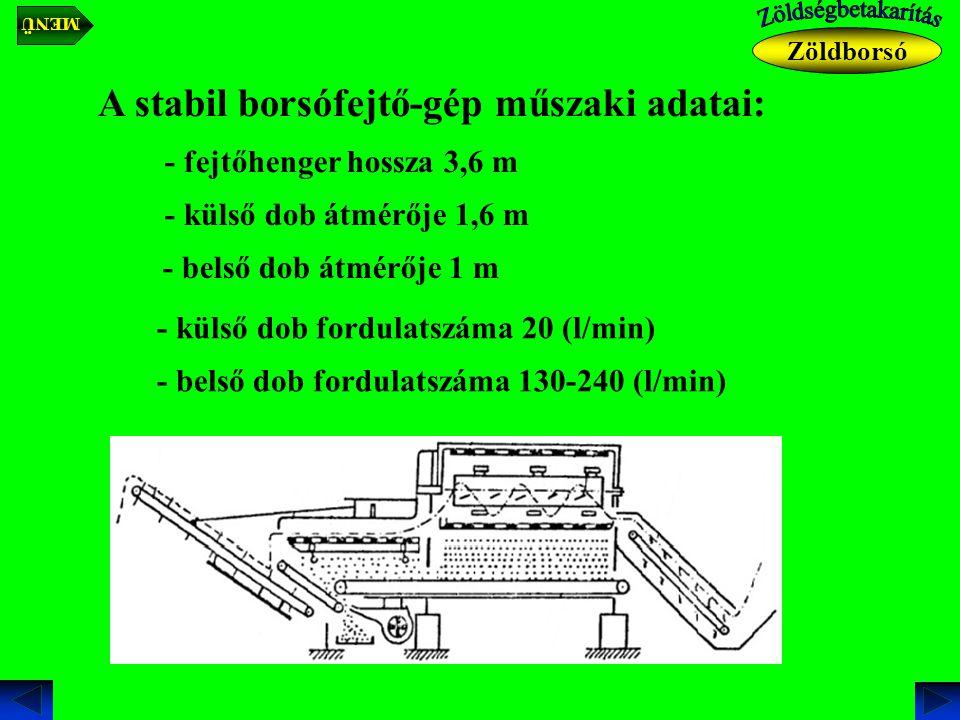 A stabil borsófejtő-gép műszaki adatai: - fejtőhenger hossza 3,6 m - külső dob átmérője 1,6 m - belső dob átmérője 1 m - külső dob fordulatszáma 20 (l/min) - belső dob fordulatszáma 130-240 (l/min) Zöldborsó MENÜ