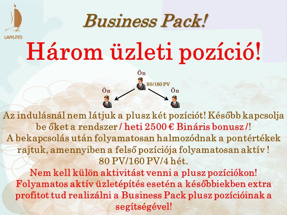 Business Pack! Három üzleti pozíció! Az indulásnál nem látjuk a plusz két pozíciót! Később kapcsolja be őket a rendszer / heti 2500 € Bináris bonusz /