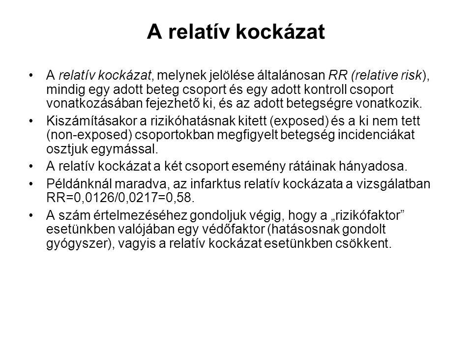 A relatív kockázat A relatív kockázat, melynek jelölése általánosan RR (relative risk), mindig egy adott beteg csoport és egy adott kontroll csoport vonatkozásában fejezhető ki, és az adott betegségre vonatkozik.