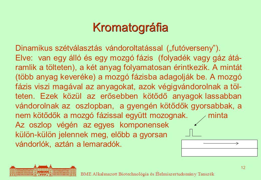 """12 Kromatográfia Dinamikus szétválasztás vándoroltatással (""""futóverseny""""). Elve: van egy álló és egy mozgó fázis (folyadék vagy gáz átá- ramlik a tölt"""