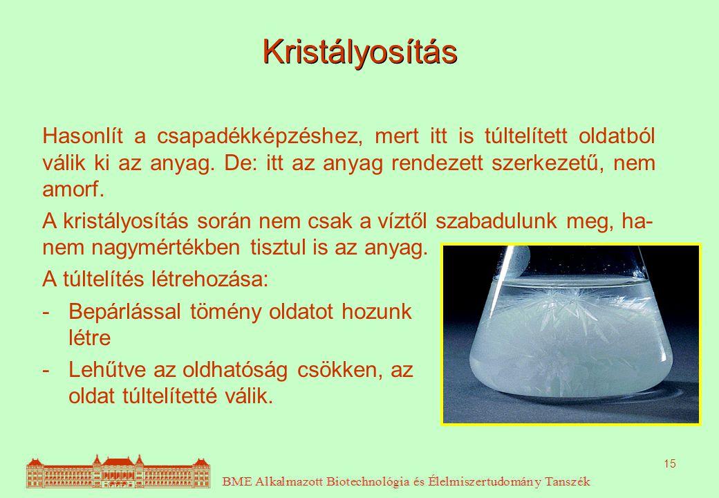 15 Kristályosítás Hasonlít a csapadékképzéshez, mert itt is túltelített oldatból válik ki az anyag. De: itt az anyag rendezett szerkezetű, nem amorf.