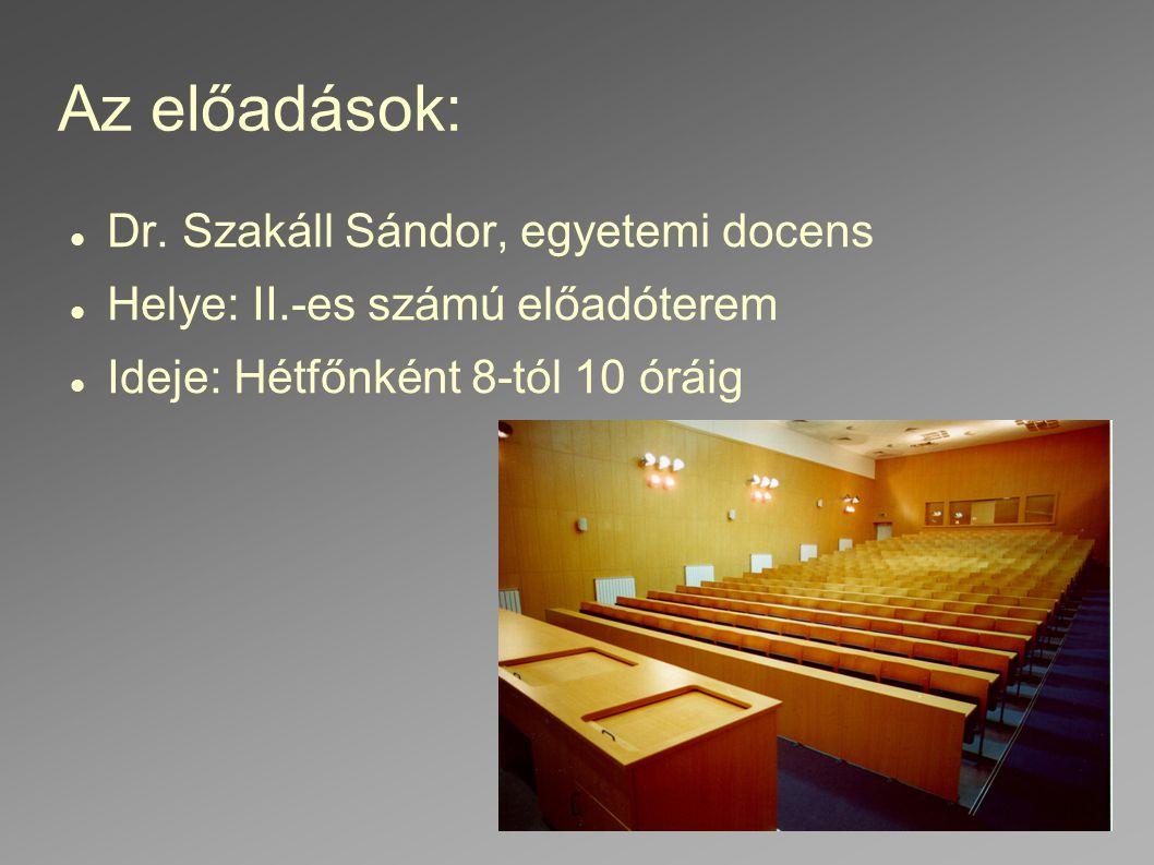 Az előadások: Dr. Szakáll Sándor, egyetemi docens Helye: II.-es számú előadóterem Ideje: Hétfőnként 8-tól 10 óráig