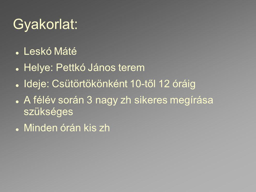 Gyakorlat: Leskó Máté Helye: Pettkó János terem Ideje: Csütörtökönként 10-től 12 óráig A félév során 3 nagy zh sikeres megírása szükséges Minden órán