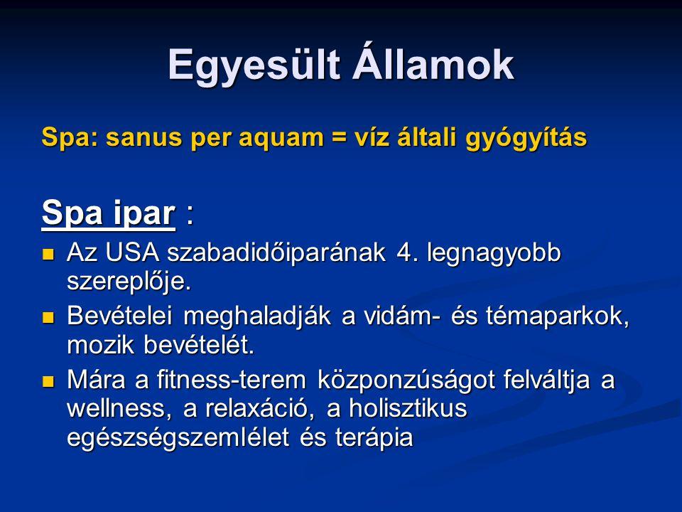 Egyesült Államok Spa: sanus per aquam = víz általi gyógyítás Spa ipar : Az USA szabadidőiparának 4.