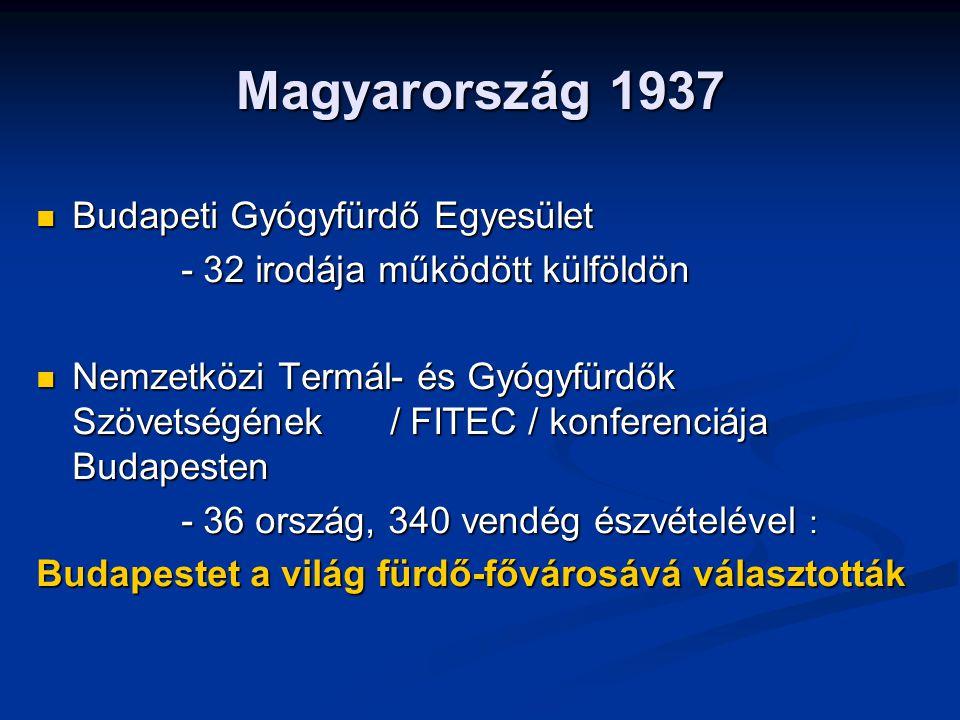 Magyarország 1937 Budapeti Gyógyfürdő Egyesület Budapeti Gyógyfürdő Egyesület - 32 irodája működött külföldön - 32 irodája működött külföldön Nemzetközi Termál- és Gyógyfürdők Szövetségének / FITEC / konferenciája Budapesten Nemzetközi Termál- és Gyógyfürdők Szövetségének / FITEC / konferenciája Budapesten - 36 ország, 340 vendég észvételével : - 36 ország, 340 vendég észvételével : Budapestet a világ fürdő-fővárosává választották