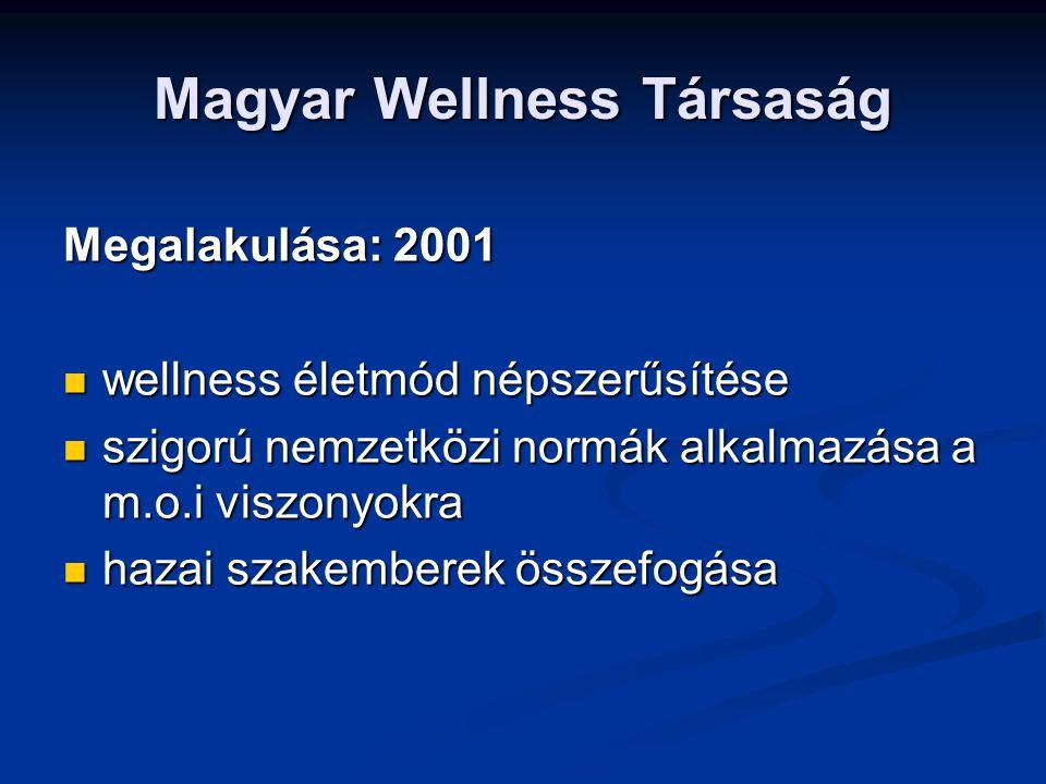 Magyar Wellness Társaság Megalakulása: 2001 wellness életmód népszerűsítése wellness életmód népszerűsítése szigorú nemzetközi normák alkalmazása a m.o.i viszonyokra szigorú nemzetközi normák alkalmazása a m.o.i viszonyokra hazai szakemberek összefogása hazai szakemberek összefogása