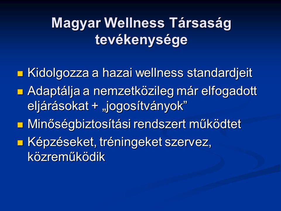 """Magyar Wellness Társaság tevékenysége Kidolgozza a hazai wellness standardjeit Kidolgozza a hazai wellness standardjeit Adaptálja a nemzetközileg már elfogadott eljárásokat + """"jogosítványok Adaptálja a nemzetközileg már elfogadott eljárásokat + """"jogosítványok Minőségbiztosítási rendszert működtet Minőségbiztosítási rendszert működtet Képzéseket, tréningeket szervez, közreműködik Képzéseket, tréningeket szervez, közreműködik"""