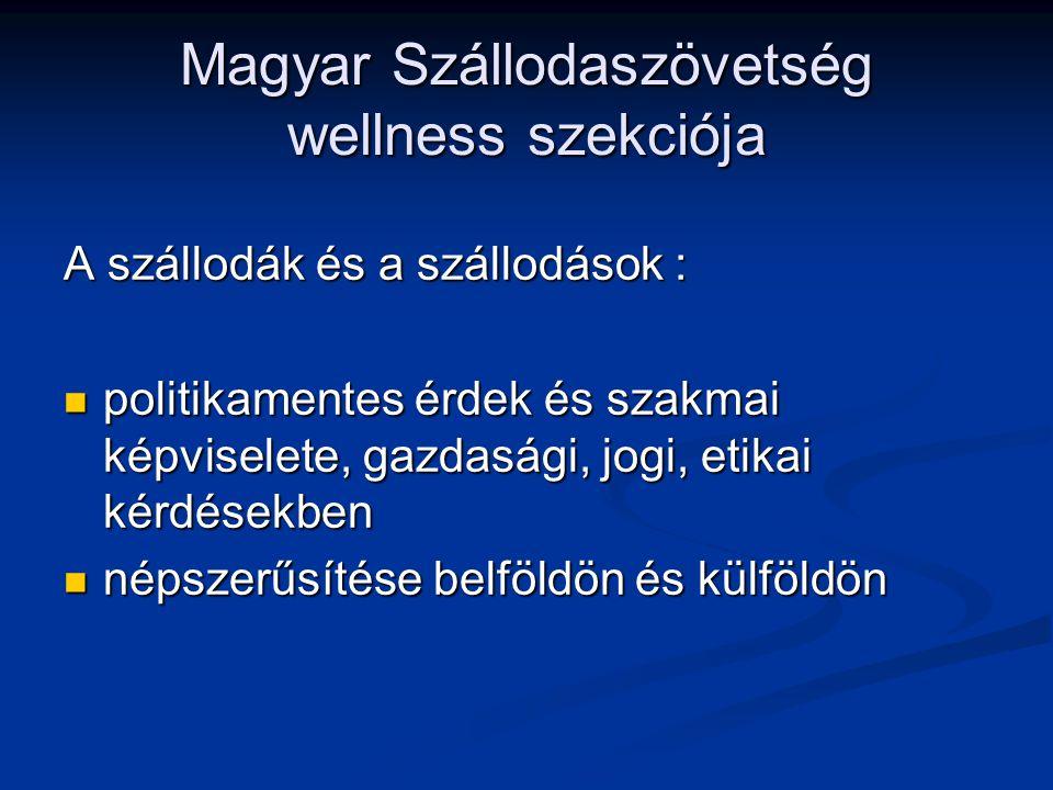Magyar Szállodaszövetség wellness szekciója A szállodák és a szállodások : politikamentes érdek és szakmai képviselete, gazdasági, jogi, etikai kérdésekben politikamentes érdek és szakmai képviselete, gazdasági, jogi, etikai kérdésekben népszerűsítése belföldön és külföldön népszerűsítése belföldön és külföldön