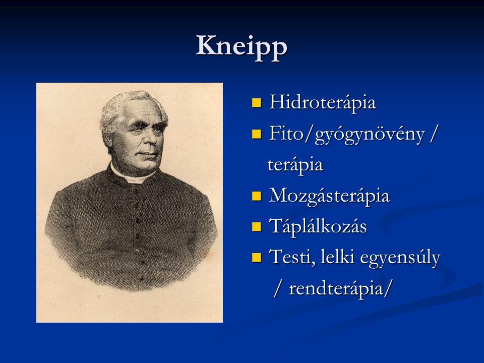 Kneipp Hidroterápia Fito/gyógynövény / terápia Mozgásterápia Táplálkozás Testi, lelki egyensúly / rendterápia/