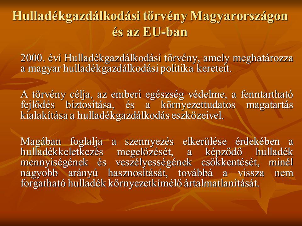 Hulladékgazdálkodási törvény Magyarországon és az EU-ban 2000. évi Hulladékgazdálkodási törvény, amely meghatározza a magyar hulladékgazdálkodási poli
