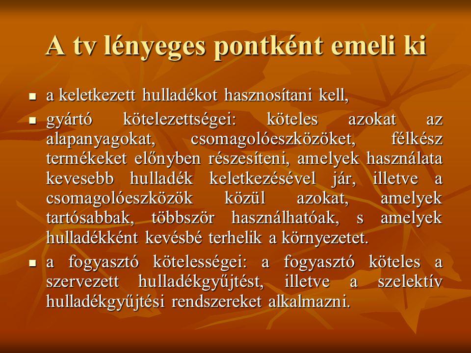 A tv lényeges pontként emeli ki a keletkezett hulladékot hasznosítani kell, a keletkezett hulladékot hasznosítani kell, gyártó kötelezettségei: kötele