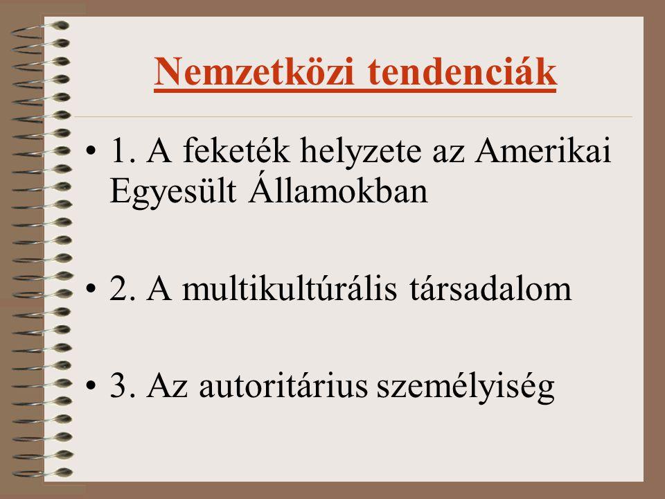 Magyarországi helyzet A nemzettudat Magyarországon A roma kisebbség helyzete A zsidó vallási kisebbség és az antiszemitizmus Társadalompolitika