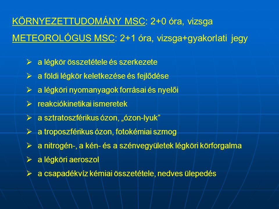KÖRNYEZETTUDOMÁNY MSC: 2+0 óra, vizsga METEOROLÓGUS MSC: 2+1 óra, vizsga+gyakorlati jegy  a légkör összetétele és szerkezete  a földi légkör keletke