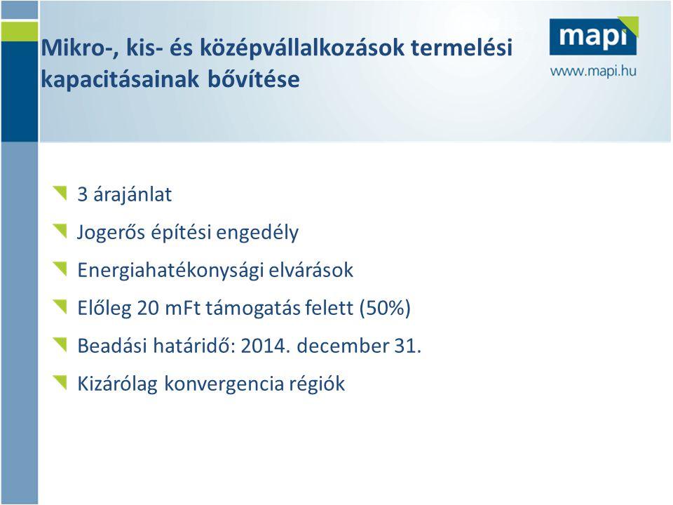 Mikro-, kis- és középvállalkozások termelési kapacitásainak bővítése 3 árajánlat Jogerős építési engedély Energiahatékonysági elvárások Előleg 20 mFt támogatás felett (50%) Beadási határidő: 2014.
