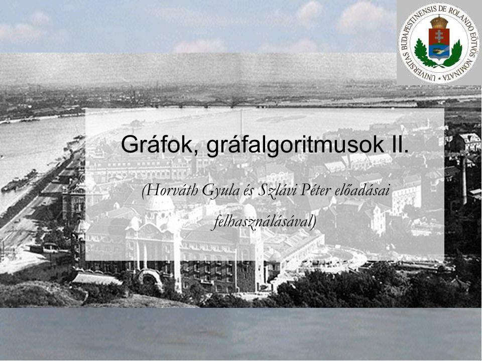 Gráfok, gráfalgoritmusok II. (Horváth Gyula és Szlávi Péter előadásai felhasználásával)