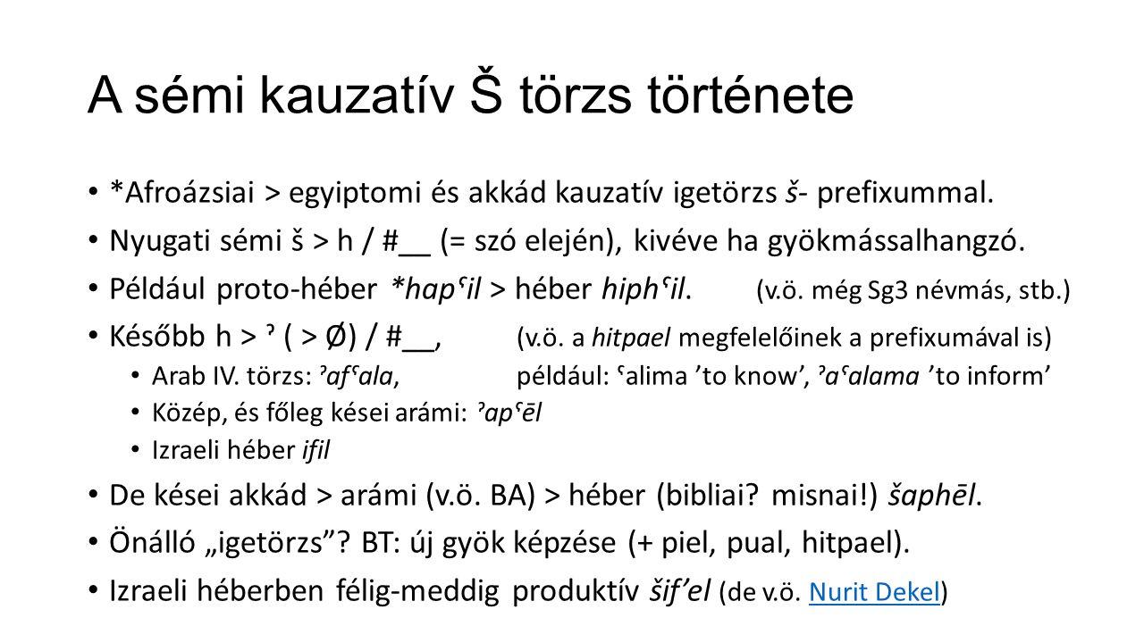 A sémi kauzatív Š törzs története *Afroázsiai > egyiptomi és akkád kauzatív igetörzs š- prefixummal. Nyugati sémi š > h / #__ (= szó elején), kivéve h