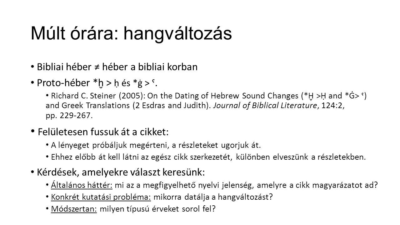 Múlt órára: hangváltozás Bibliai héber ≠ héber a bibliai korban Proto-héber *ḫ > ḥ és *ġ > ˁ. Richard C. Steiner (2005): On the Dating of Hebrew Sound