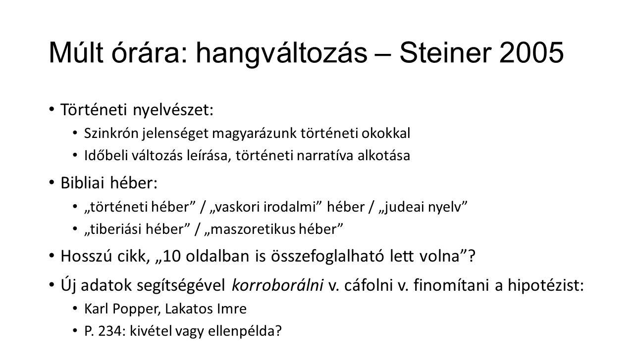 Múlt órára: hangváltozás – Steiner 2005 Történeti nyelvészet: Szinkrón jelenséget magyarázunk történeti okokkal Időbeli változás leírása, történeti na