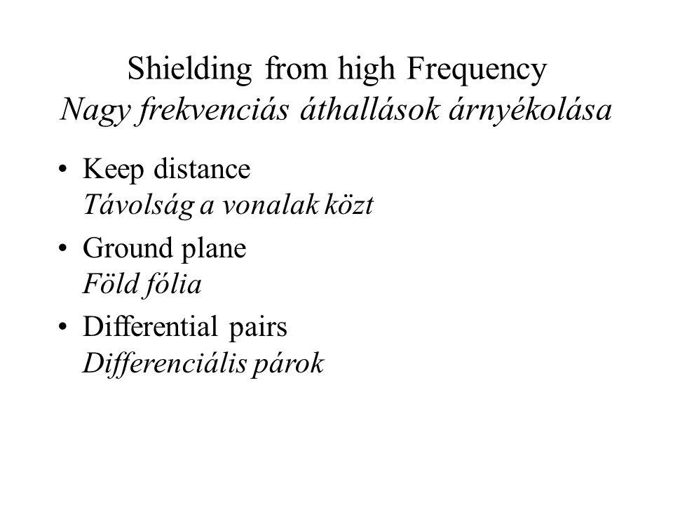 Shielding from high Frequency Nagy frekvenciás áthallások árnyékolása Keep distance Távolság a vonalak közt Ground plane Föld fólia Differential pairs