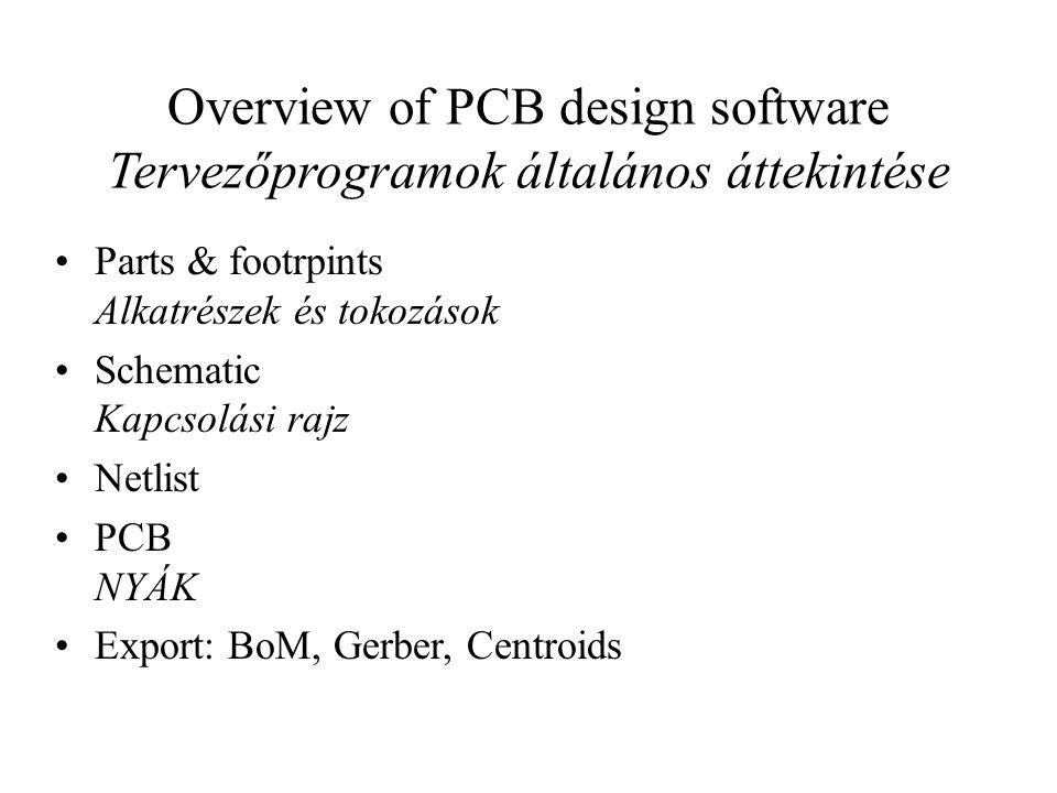 Overview of PCB design software Tervezőprogramok általános áttekintése Parts & footrpints Alkatrészek és tokozások Schematic Kapcsolási rajz Netlist P
