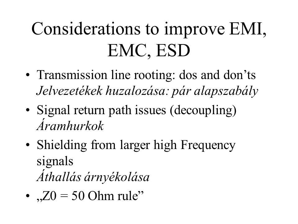 Considerations to improve EMI, EMC, ESD Transmission line rooting: dos and don'ts Jelvezetékek huzalozása: pár alapszabály Signal return path issues (